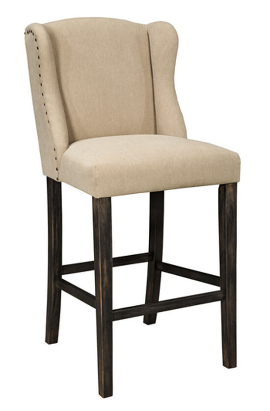 "Wingback 46"" Nailhead Trimmed Bar Stool in Light Beige"