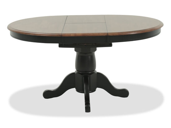 "Traditional 42"" to 57"" Single Pedestal Dining Table with Butterfly Leaf in Almond"