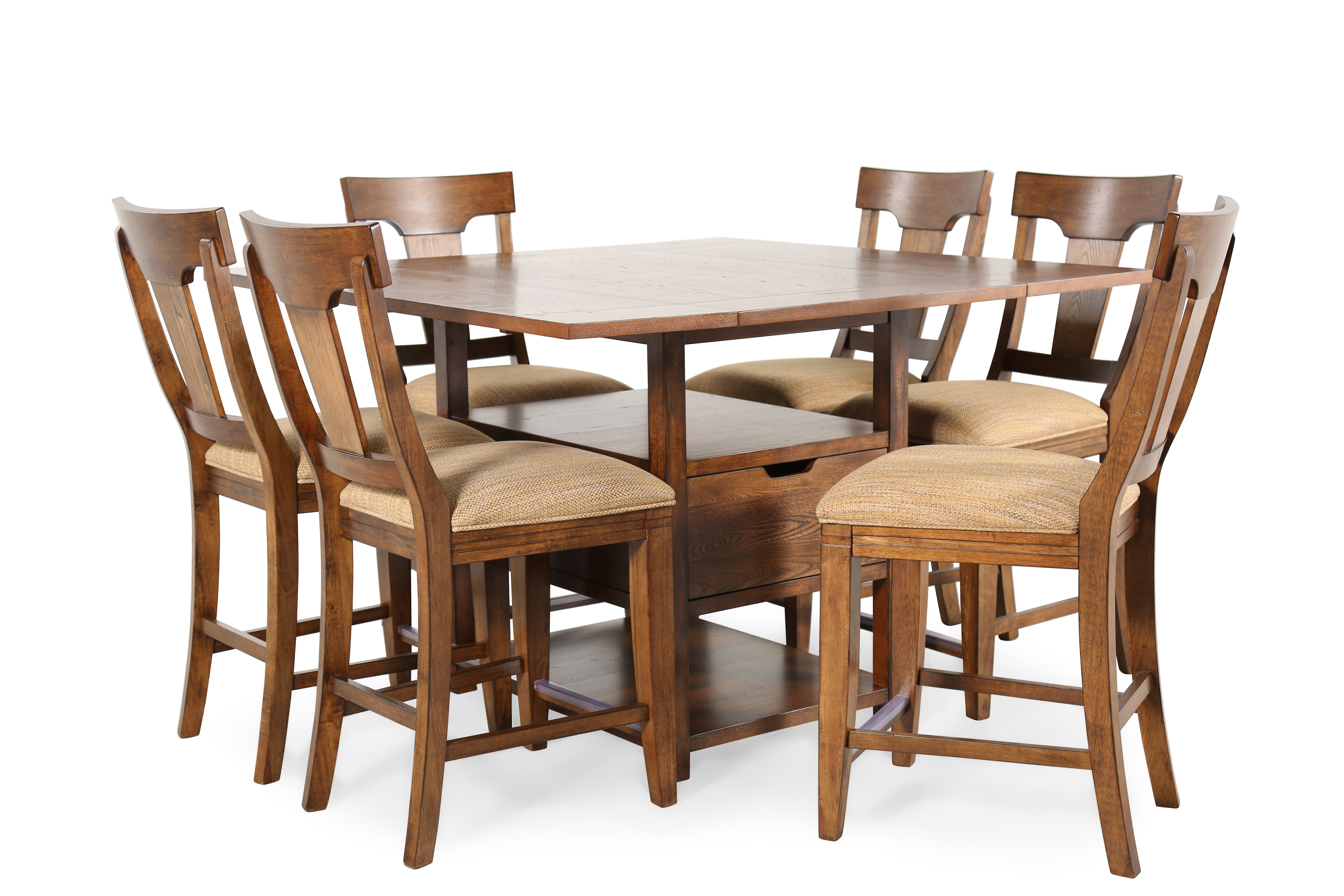 Seven Piece Traditional 36u0026quot; Pub Set With Fold Down Leaves In Warm  Hearthside
