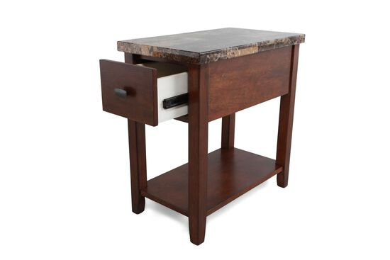 Rectangular Contemporary Chairside Table in Medium Brown