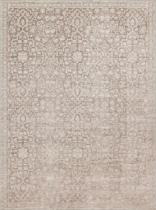 """Traditional 1'-6""""x1'-6"""" Square Rug in Pewter/Pewter"""