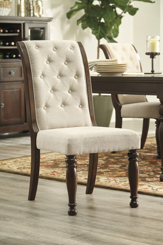 "Button-Tufted 21"" Side Chair in Beige"