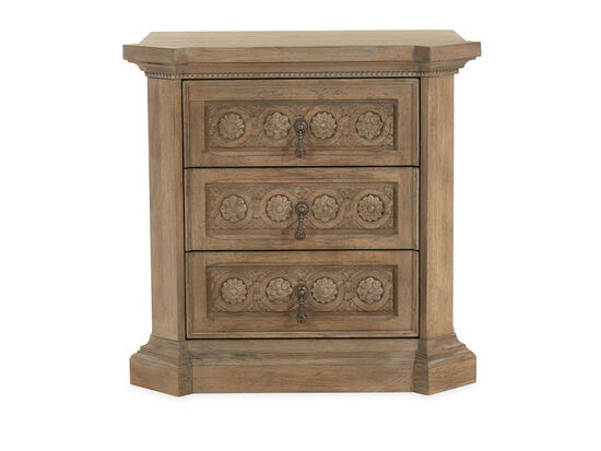 "29"" Carved Contemporary Bedside Chest in Light Oak"