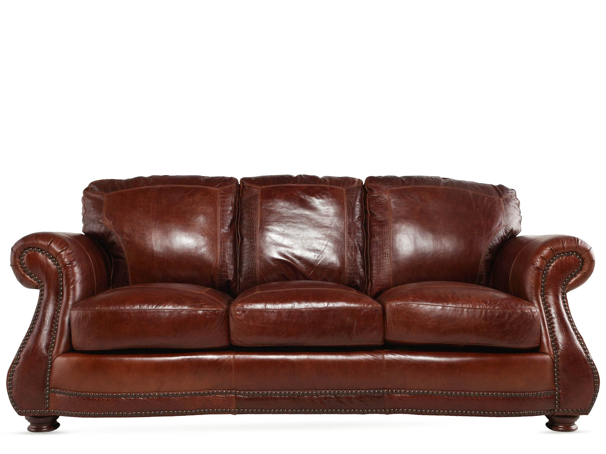 Leather Rolled Arm 88u0026quot; Sofa In Brandy Part 41
