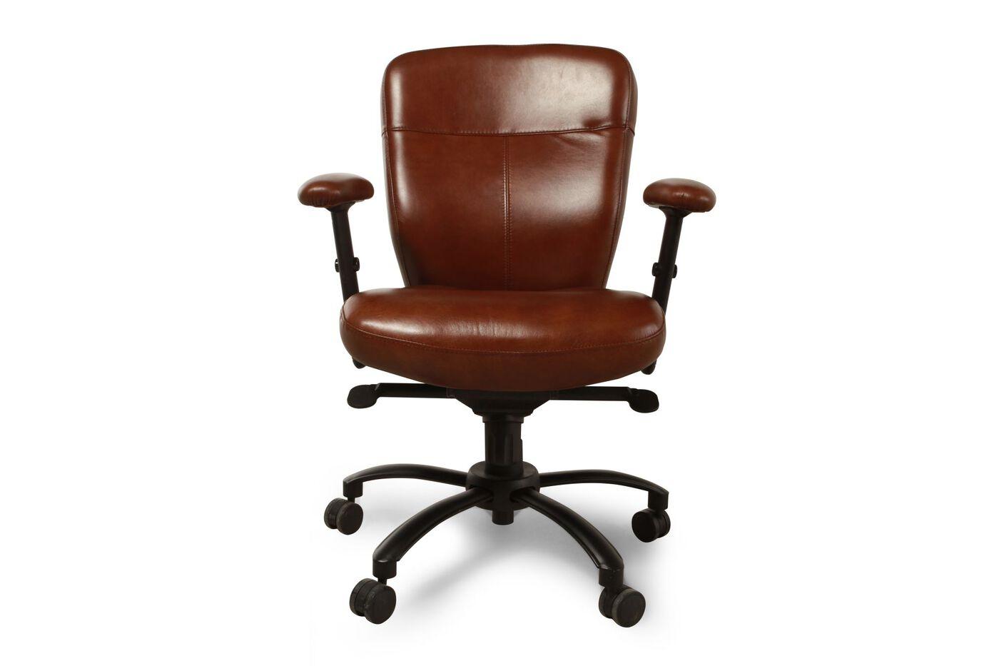 Leather Ergonomic Swivel Tilt Desk Chair in Brown | Mathis ...