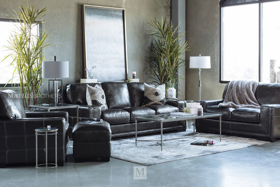 """Traditional Leather 45"""" Chair in Pewter Gray"""