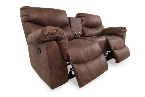 "Reclining Contemporary 80"" Loveseat with Console in Gunsmoke"
