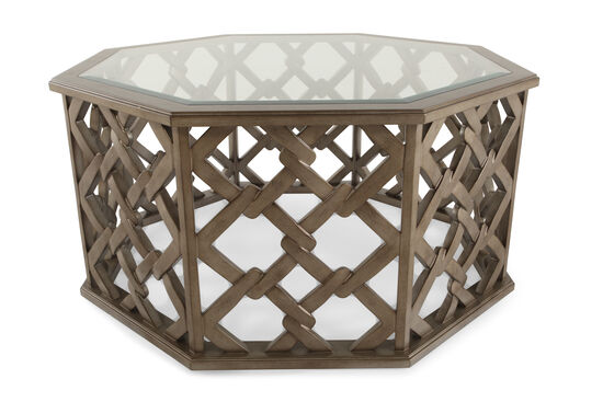 Square-Linked Base Transitional Cocktail Table in Brown
