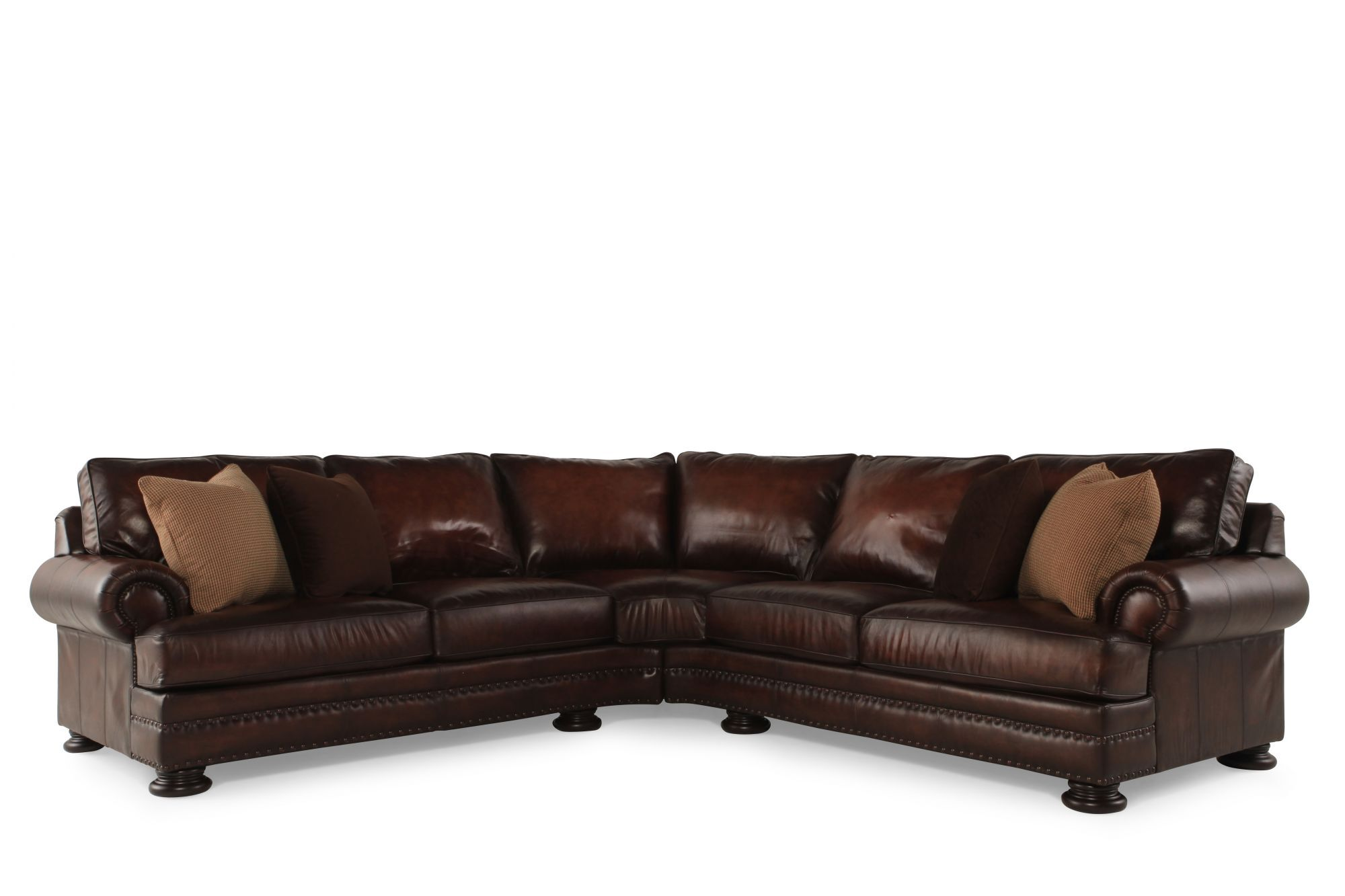 European Classic Nailhead Accented Leather 103u0026quot; Sectional In Brown