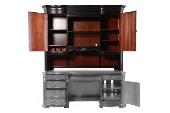 "77"" Traditional Glass-Shelf Credenza Hutch in Black"