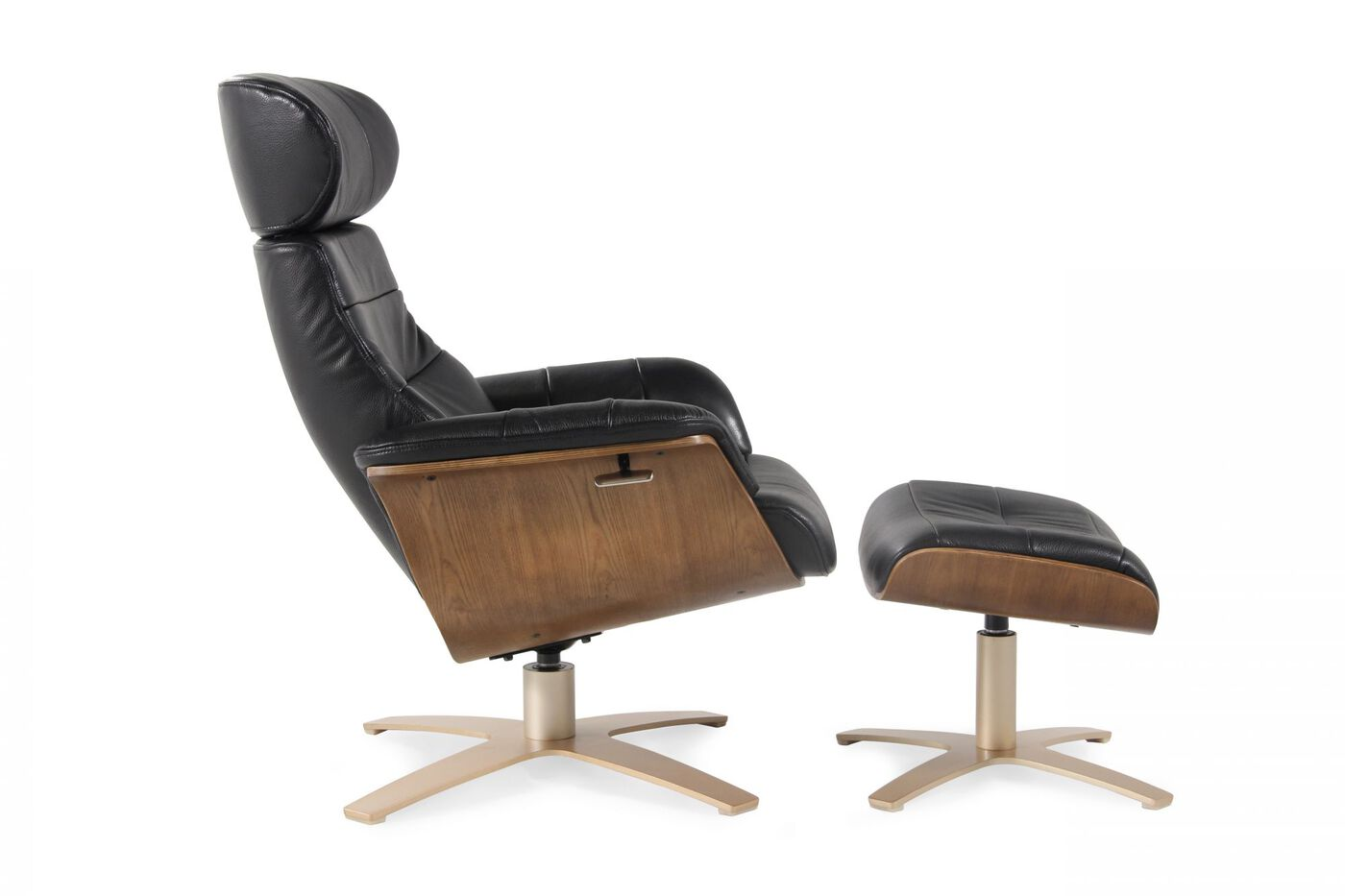 leather swivel recliner and ottoman in onyx mathis brothers furniture. Black Bedroom Furniture Sets. Home Design Ideas
