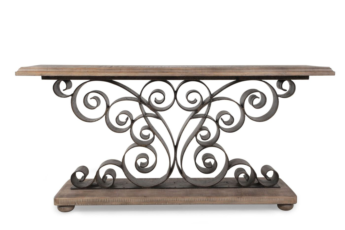 Scrolled metal and wood coffee table - Hooker Metal Scroll Console Table