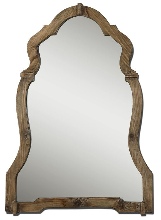 "43"" Arched Mirror in Burnished Light Walnut"