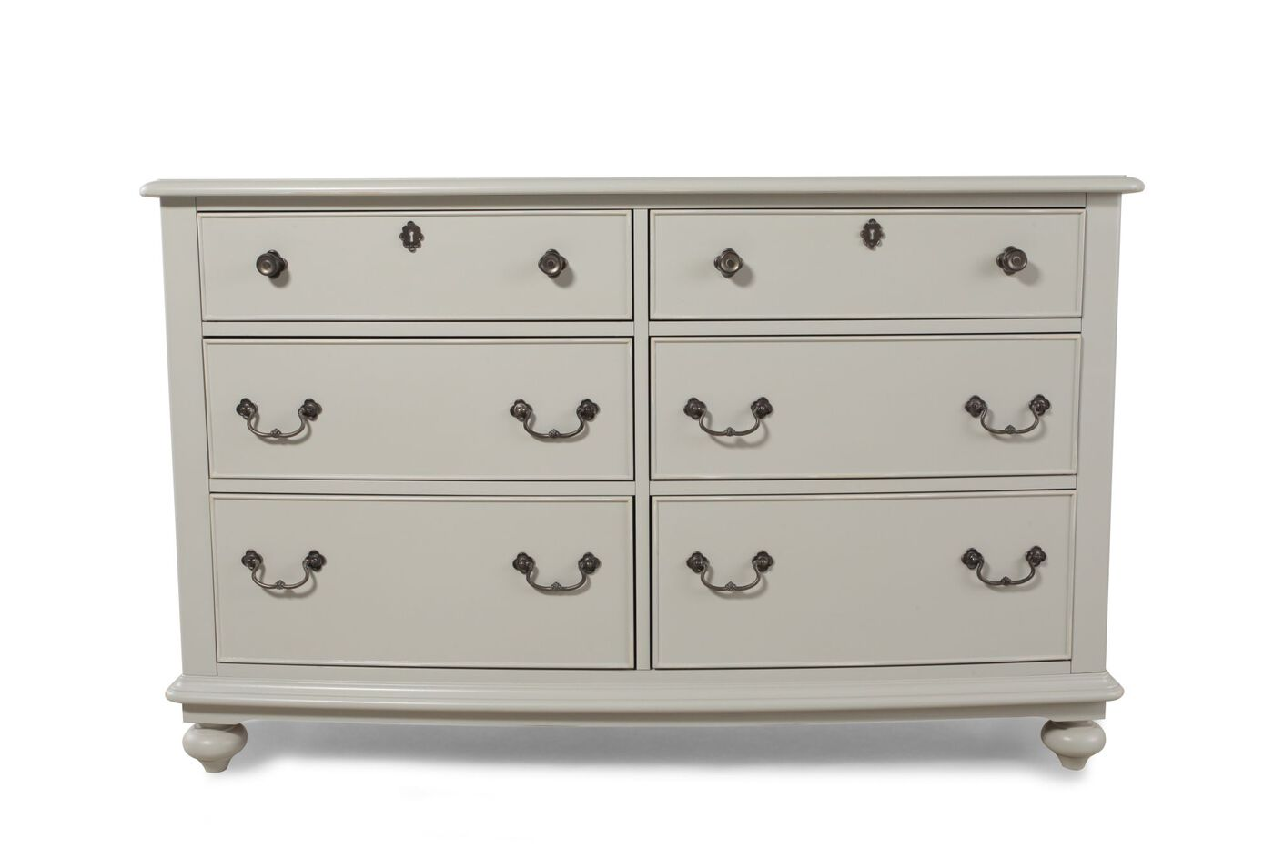 six drawer youth dresser in light gray mathis brothers furniture. Black Bedroom Furniture Sets. Home Design Ideas