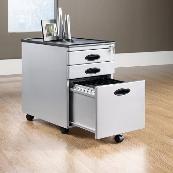Three-Drawer Transitional Mobile File Cabinet in Silver