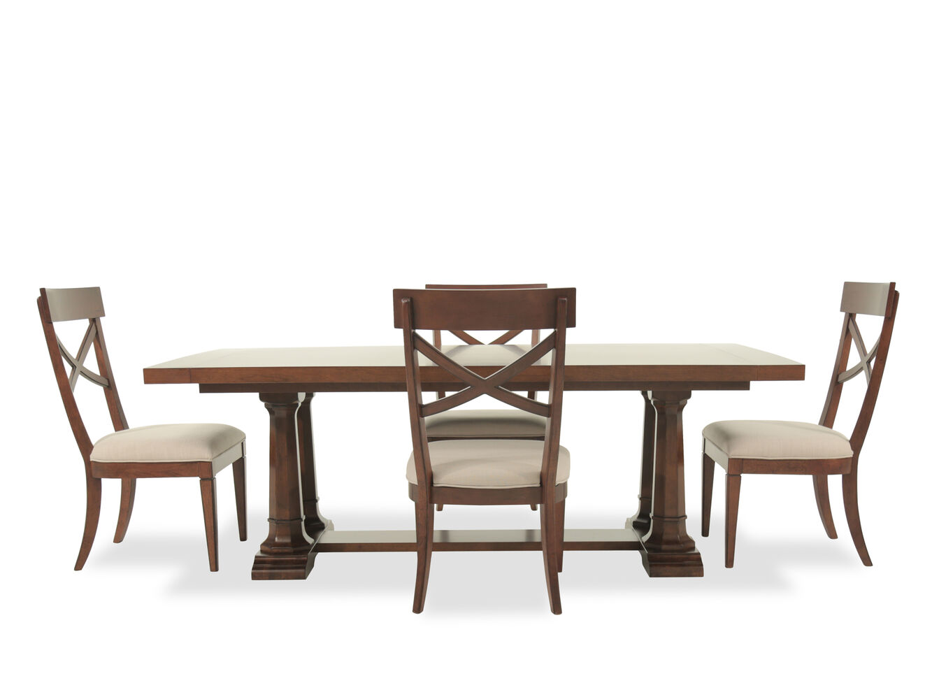 Five piece casual dining set in brown mathis brothers for Casual kitchen dining