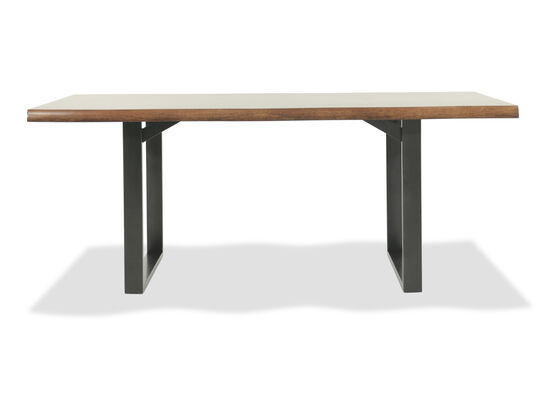 "Mid-Century Modern 74"" Rectangular Dining Table in Dark Brown"