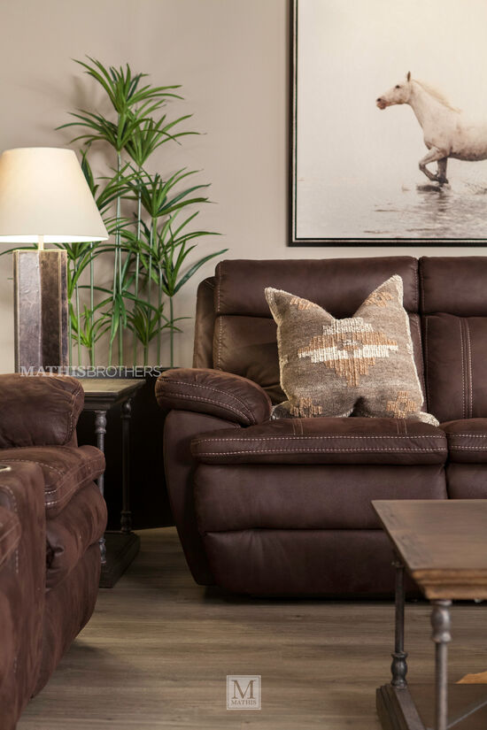 "Power Reclining Microfiber 86"" Sofa in Brown"