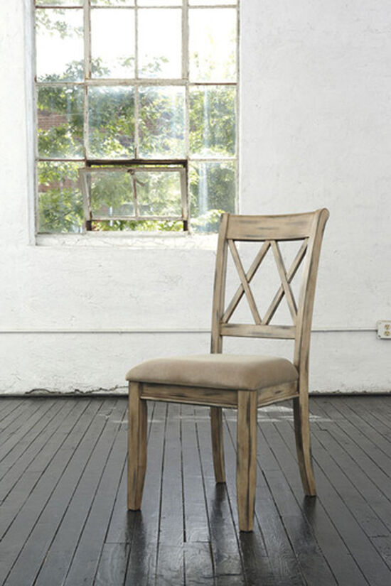 "Crisscross Back 19"" Upholstered Side Dining Chair in Antique White"