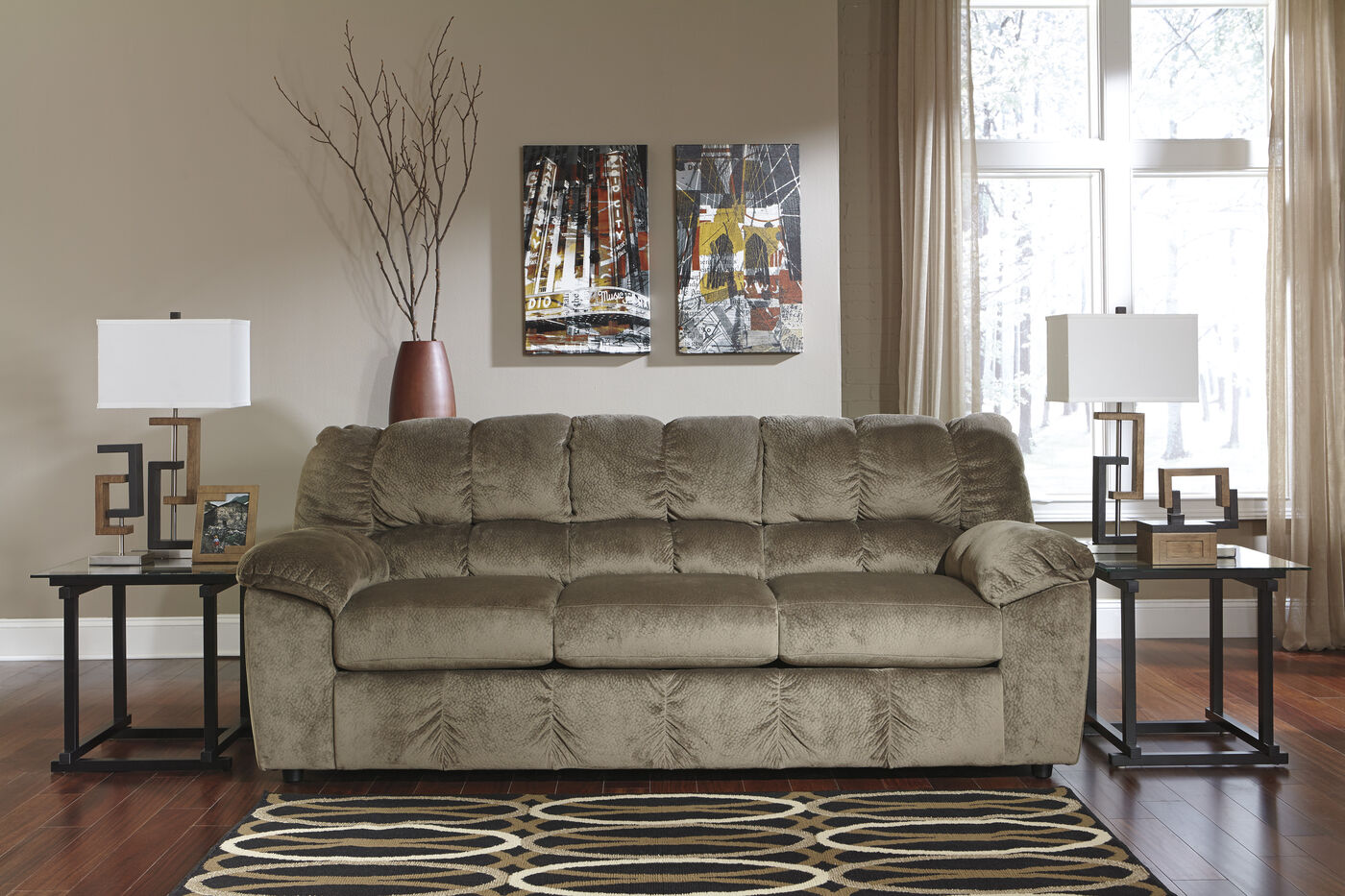 Casual microfiber 90 sofa in dune mathis brothers furniture for Brother v brother living room