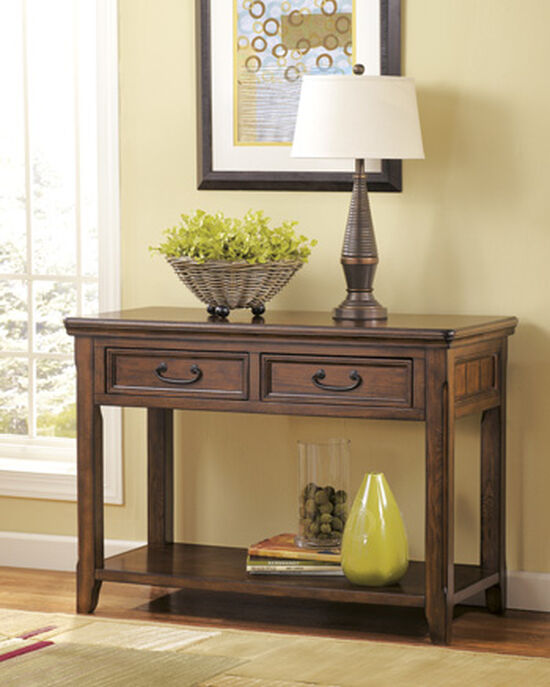 Two-Framed Drawer Casual Sofa Table in Dark Brown