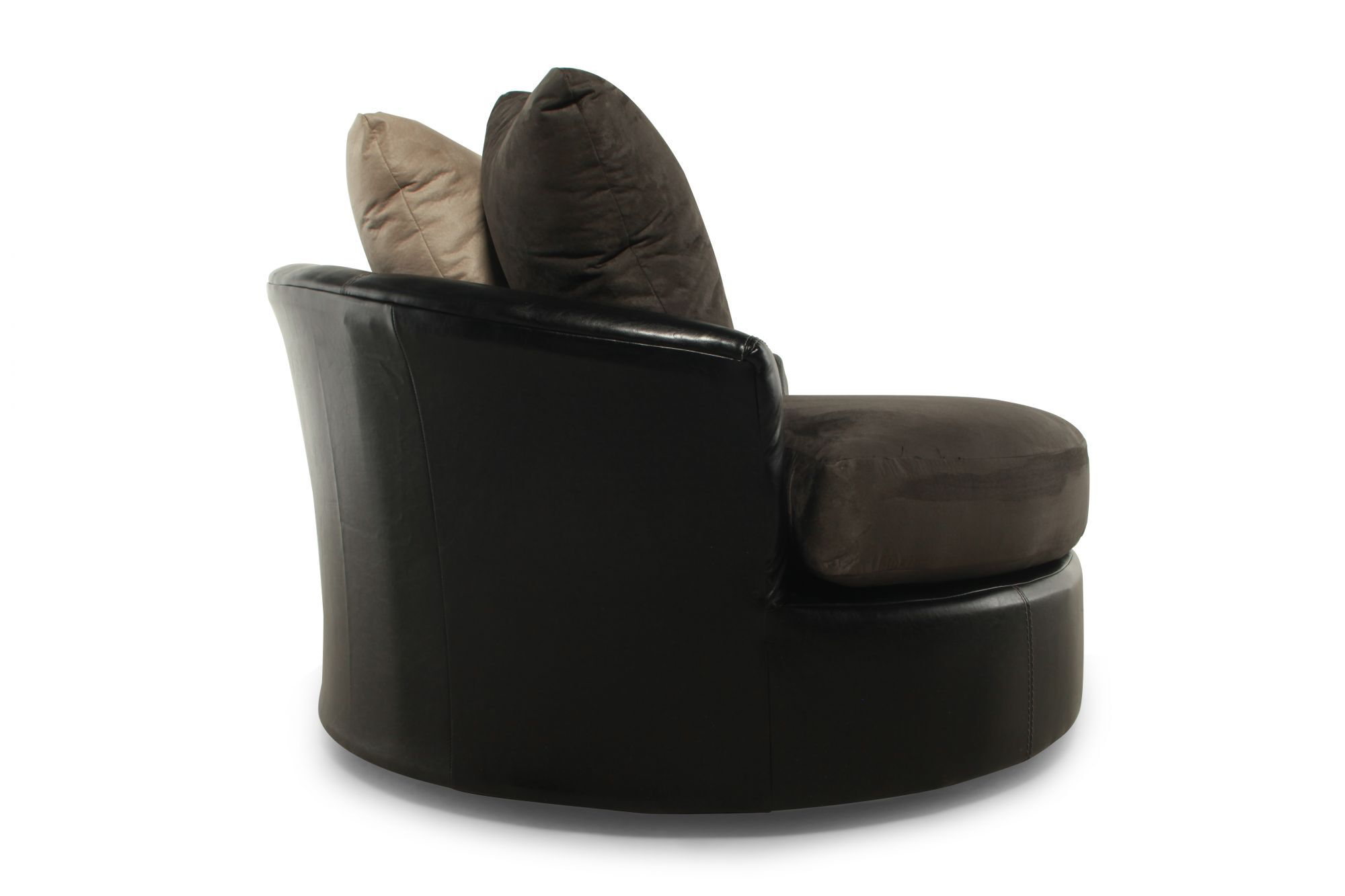 Round Microfiber 58 Swivel Chair in Chocolate Mathis Brothers