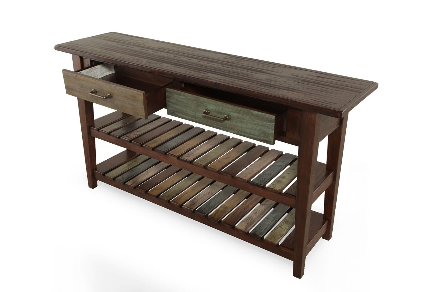 Two xylophone shelf casual console table in rustic brown mathis two xylophone shelf casual console table geotapseo Gallery