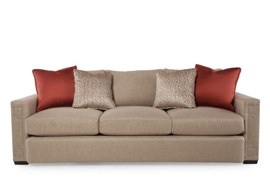 "Nailhead-Accented 94"" Sofa in Sand"