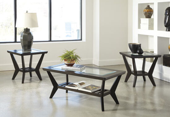 Three-Piece Contemporary Occasional Table Set in Dark Brown