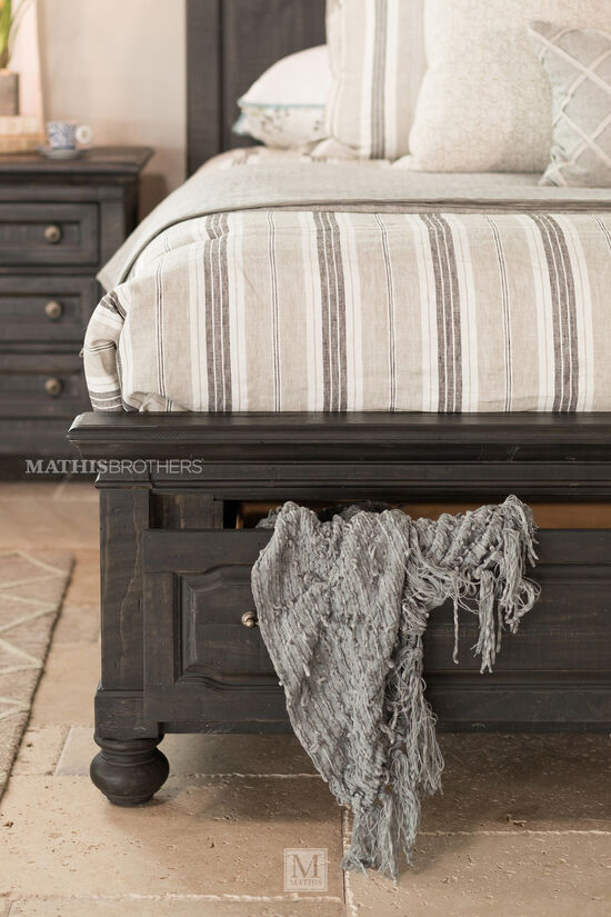 Four-Piece Distressed Bedroom Set in Black