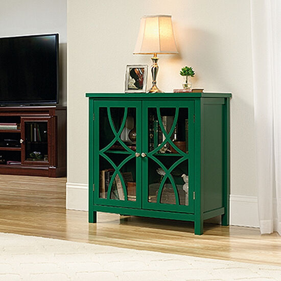 31.5'' Tempered Doors Contemporary Display Cabinet in Emerald Green