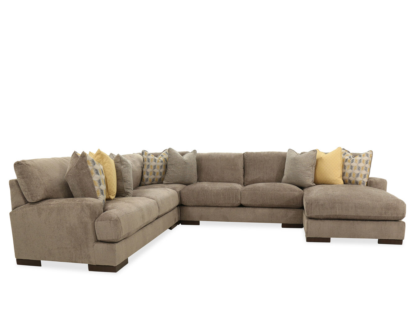 Three piece casual sectional in brown mathis brothers for 3 piece brown sectional sofa