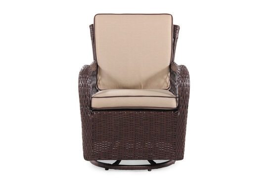 Weather-Resistant Swivel Dining Chair in Beige