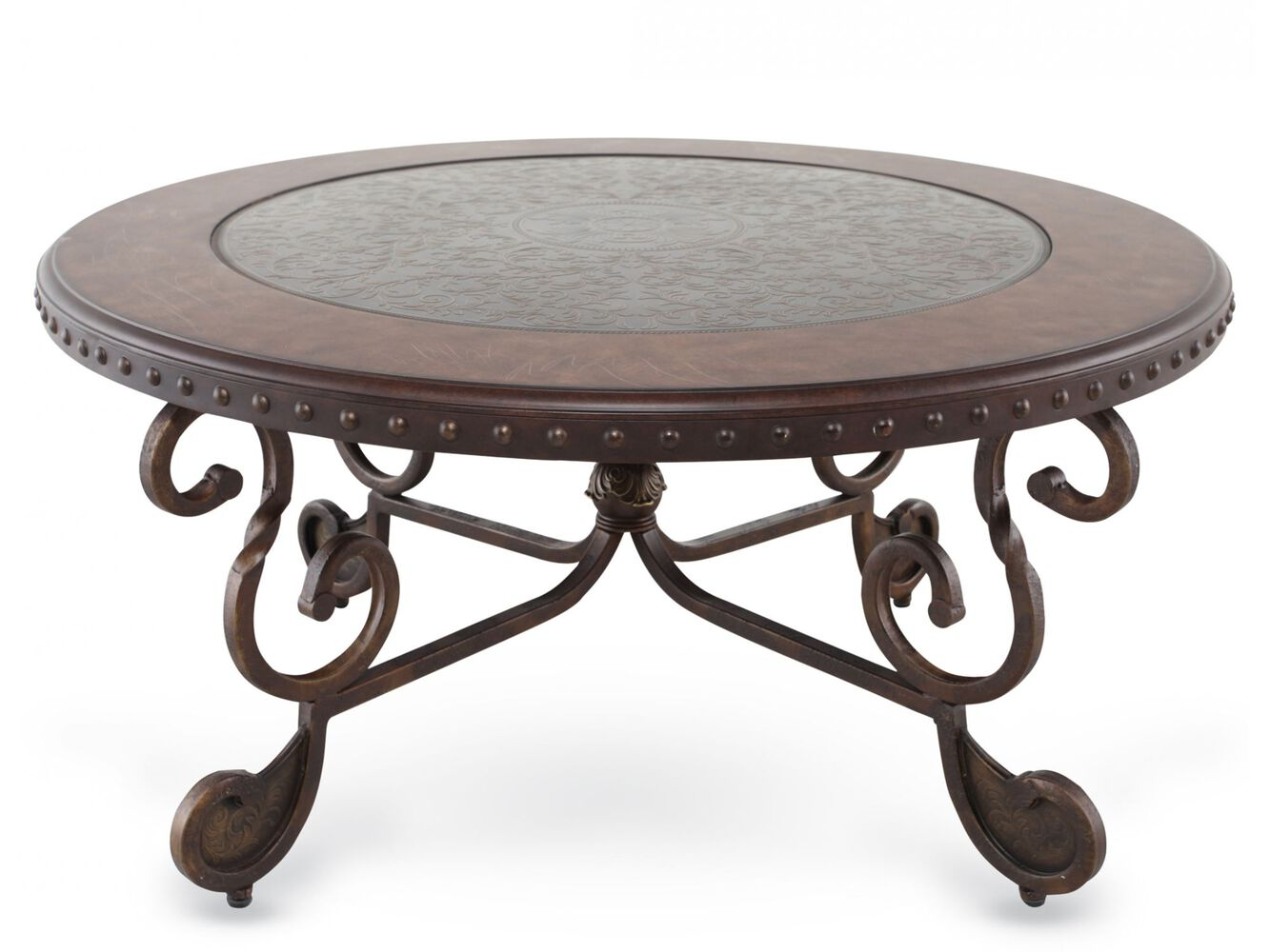 Scroll Base Traditional Cocktail Table In Brown Mathis Brothers Furniture