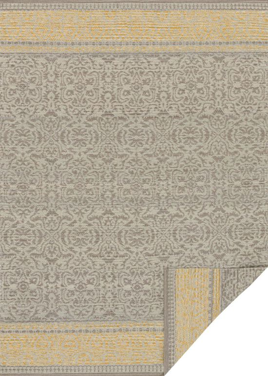 """Transitional 1'-6""""x1'-6"""" Square Rug in Grey/Maize"""