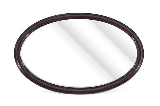 "34"" Solid Eucalyptus Beveled Oval Mirror in Dark Brown"