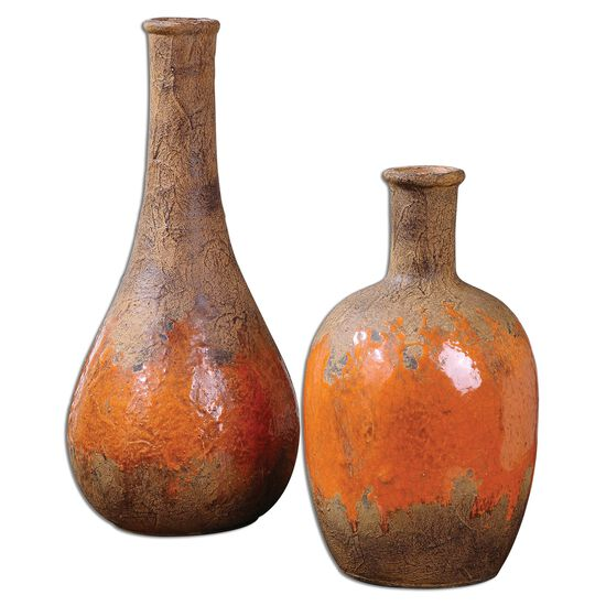 Two-Piece Vases in Rustic Brown
