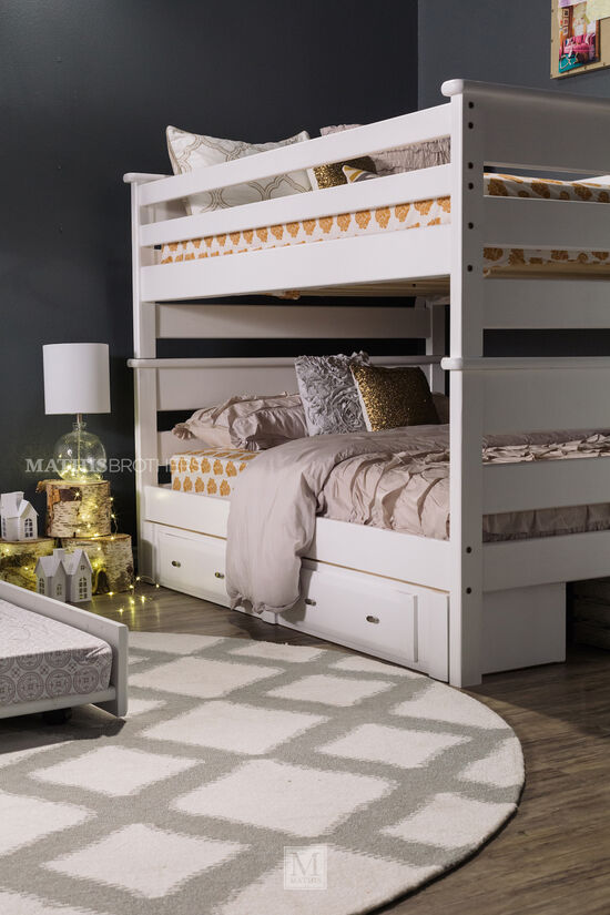 Contemporary Youth Full Over Full Bunk Bed in White
