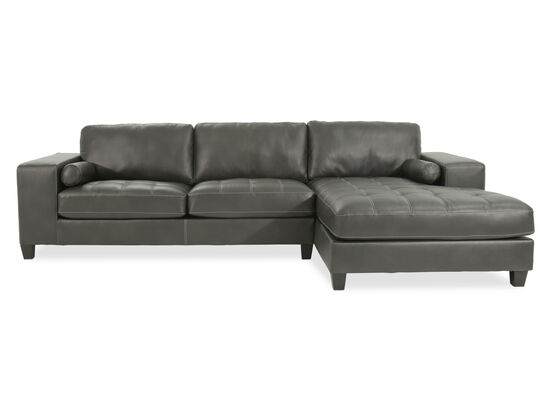 "Two-Piece Contemporary 134"" Low-Profile Sectional in Charcoal"
