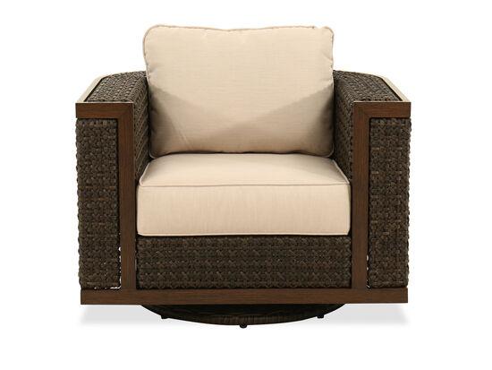 Woven Swivel Club Chair in Ebony