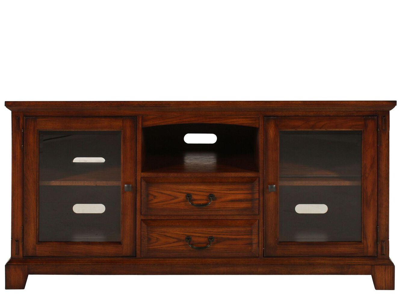 Two drawer transitional media console in rich brown cherry