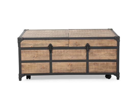 Expandable Rectangular Traditional Cocktail Table in Weathered Barley