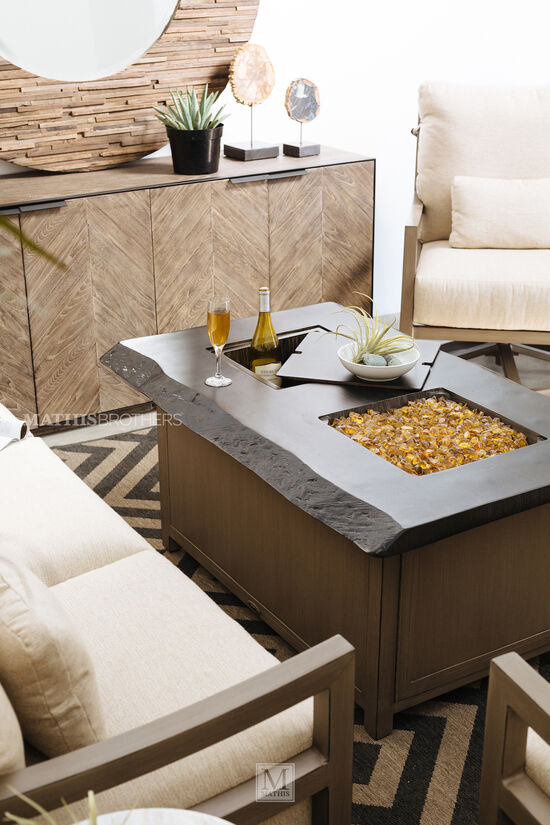 Casual Rectangular Cocktail Table with Fire Pitin Light Brown
