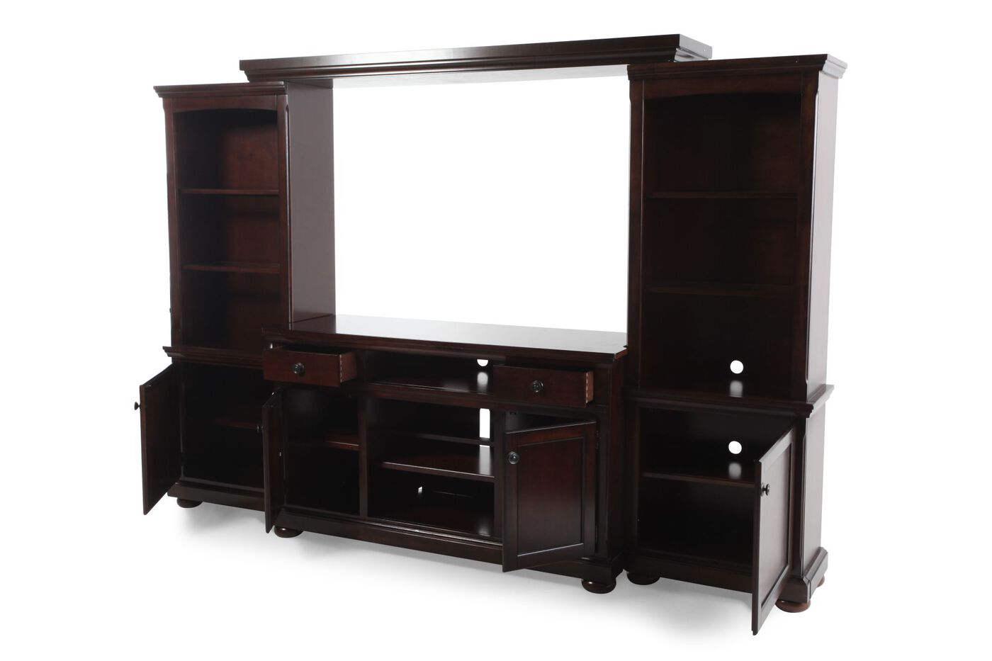 Lighted Piers Traditional Wall Unit In Burnished Brown Mathis Brothers Furniture