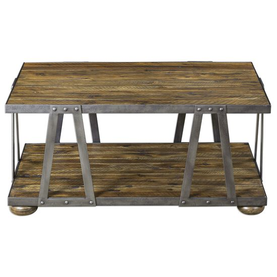 Strapped Rectangular Coffee Table in Brown