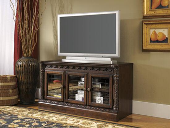 Three Glass Door Traditional Medium TV Stand in Dark Brown