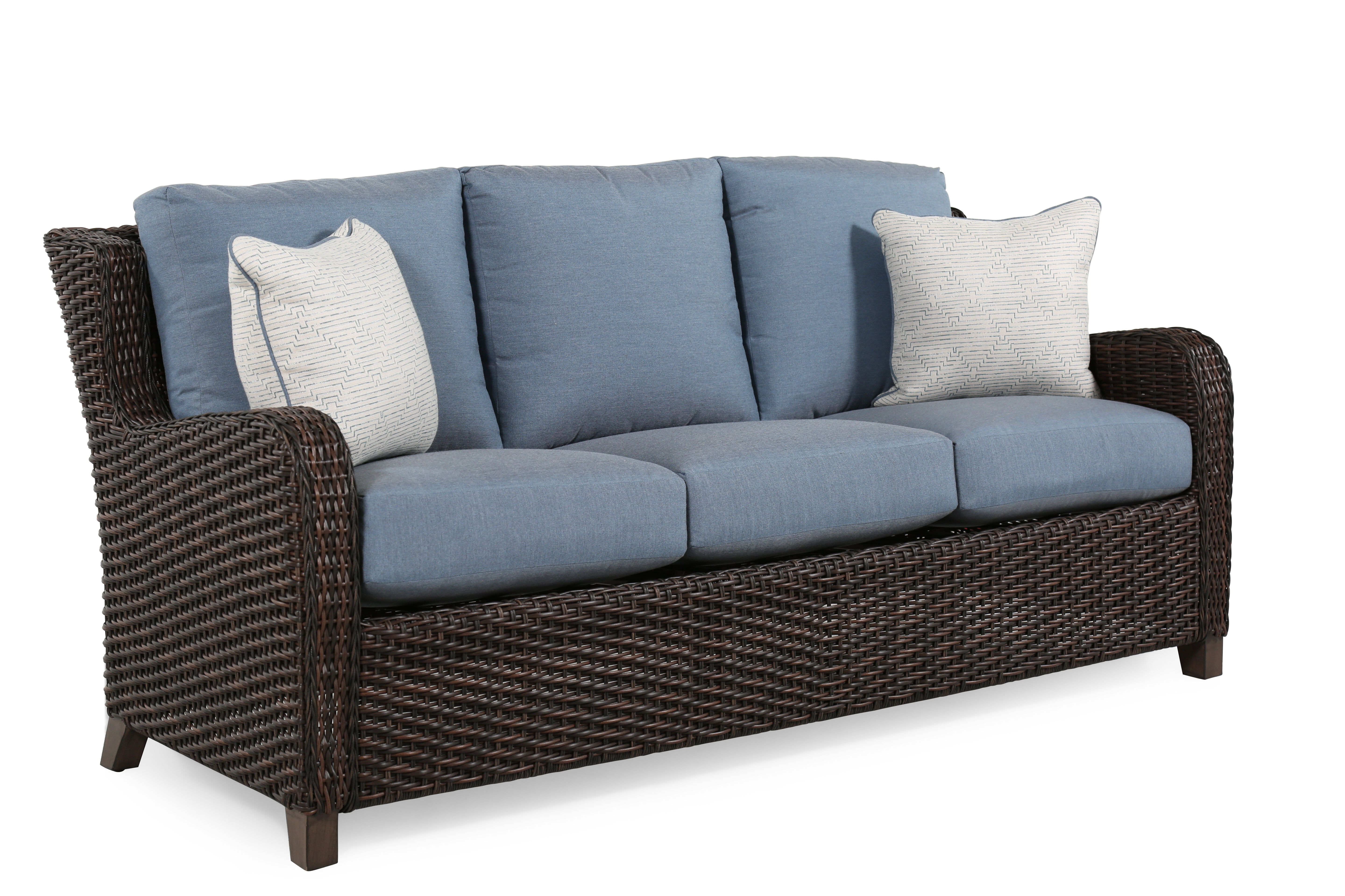 Water Resistant Contemporary Sofa In Slate Blue