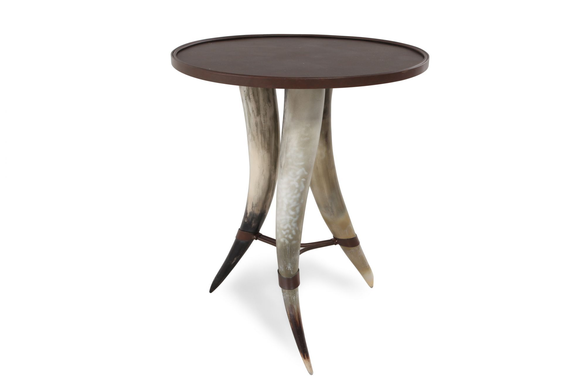 Images Round Horn Shaped Legs Contemporary Chairside Tableu0026nbsp;in Brown  Round Horn Shaped Legs Contemporary Chairside Tableu0026nbsp;in Brown
