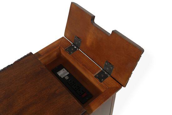 Rectangular Flip-Top Contemporary Chairside Tablein Rich Brown