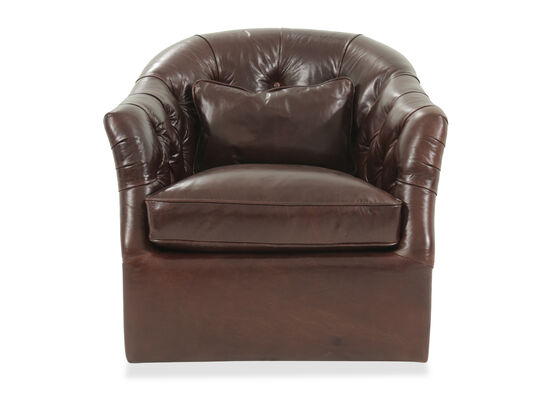 """Button-Tufted Leather 34""""  Self-Centering Swivel Chair in Caramel"""